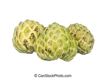 Three custard apples isolated on white background