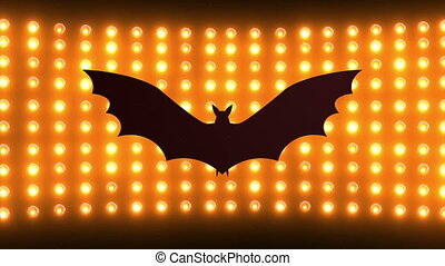 Black bat silhouette Halloween background. Festive twinkling...