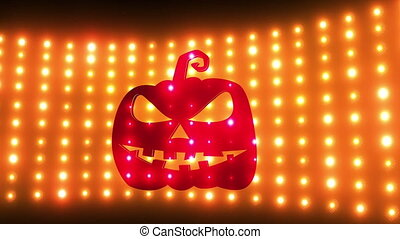 Halloween background of evil pumpkins and light wall