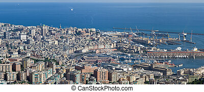 Genova - Aerial view of genova with the old town and port in...