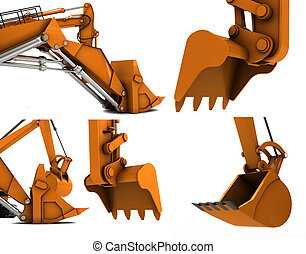 Digger scoop - Orange digger scoop isolated on white...