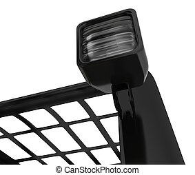 Closeup Headlamp forklift Isolated on white light car