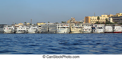 passenger ships standing in port on Nile - old passenger...
