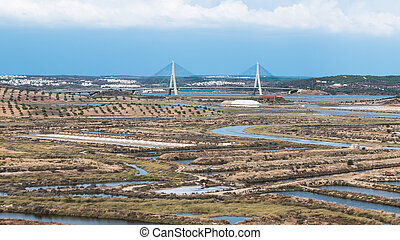 Bridge over the Guadiana River in Ayamonte, Spain.