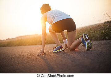 Young fitness woman running, Training and healthy lifestyle