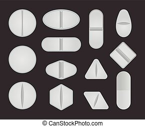 Set of different type of pills