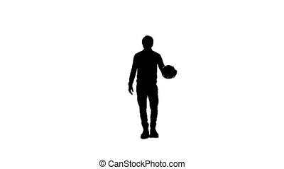 silhouette of a man with the ball - Silhouette of a man with...