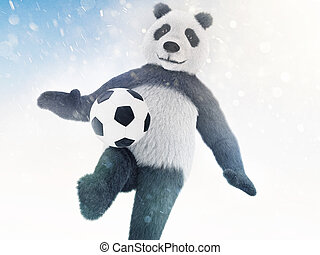 character is covered in fur on a blue background with bokeh effect and chasing the ball. Panda footballer conducts training on snow background
