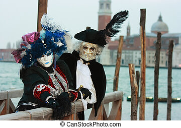 Noble Venetian masks during carnival time
