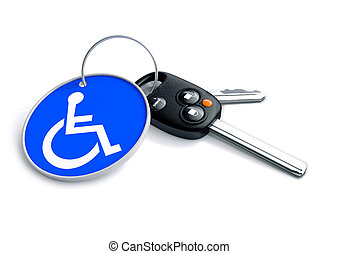 Set of car keys with keyring and a wheelchair icon on it....