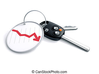 Set of car keys with financial graph arrow showing loss.
