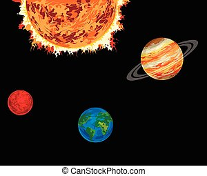 Planets and sun