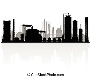 Petrochemical production silhouette - Vector illustration of...
