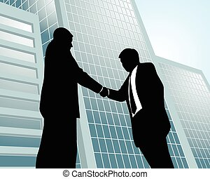 Two businessmen at city background