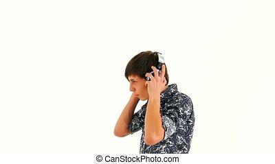 Young Man in Headphones Dancing