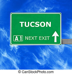 TUCSON road sign against clear blue sky