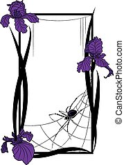 vector frame with spider and irises