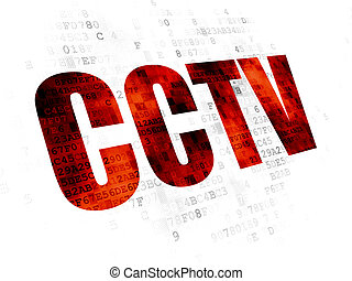 Safety concept: CCTV on Digital background - Safety concept:...