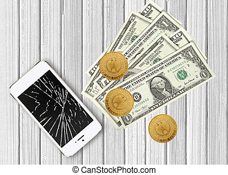 Modern broken mobile phone and dollars on white wooden background