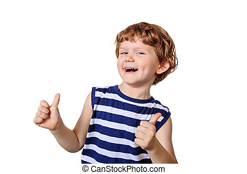 Laughing child showing thumbs up. Photo isolated in white.