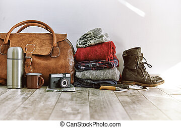travel pack - vintage bag with clothes and accesoriese for...