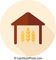 Barn flat icon with long shadow, eps 10