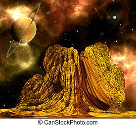 extranjero, roca, con, espacio, Plano de fondo,