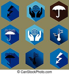 cargo protection icons silhouette - icons protect the cargo...