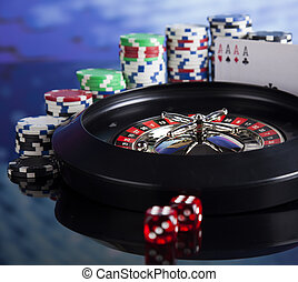 Roulette in casino and Poker Chips - Casino roulette and...
