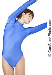 gymnastic girl - young gymnastic woman in blue leotard doing...