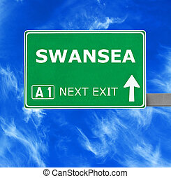 SWANSEA road sign against clear blue sky