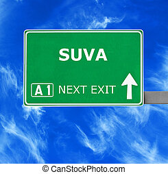 SUVA road sign against clear blue sky