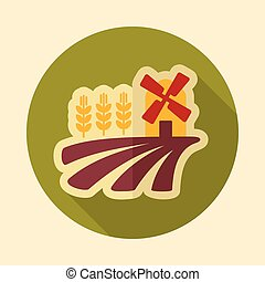 Field with a mill and wheat retro flat icon