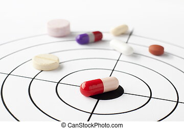 The targeted disease - Many drugs placed on a target that...