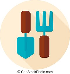Garden tool flat icon with long shadow - Garden fork, garden...