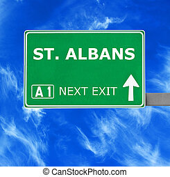 ST ALBANS road sign against clear blue sky