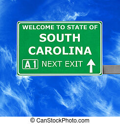 SOUTH CAROLINA road sign against clear blue sky