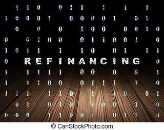Finance concept: Refinancing in grunge dark room - Finance...