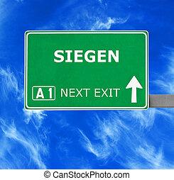 SIEGEN, Droga, znak, przeciw, jasny, Błękitny, niebo,