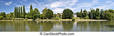 Grand Chanal panorama in Chantilly Castle parkGrand Chanal...