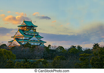 Amazing sunset Image of Osaka Castle - Beautiful Sunstet...
