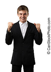 man is happy and cheerful - happy and lucky man celebrate...