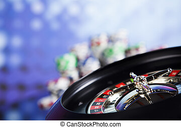 Casino roulette and playing chips