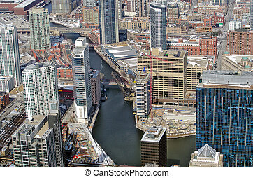 Chicago river with skyscrapers - Chicago city and river in...