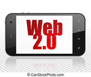 Web development concept: Smartphone with Web 20 on display -...