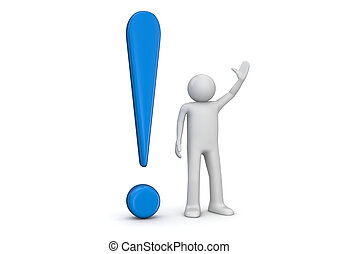3d human and blue exclamation mark - 3d isolated characters,...