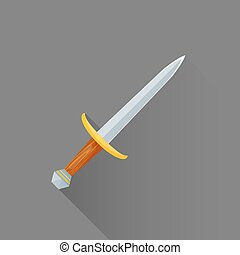 vector flat style medieval battle dagger illustration icon