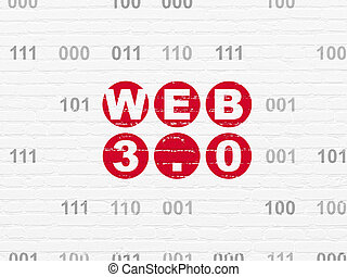 Web development concept: Web 3.0 on wall background - Web...