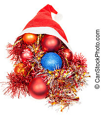 christmas decorations in red santa hat