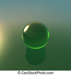 glass green ball
